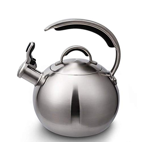 MQJ Hervidor de Acero Inoxidable para la Parte Superior de la Estufa, Tetera Silbante con Mango Resistente Al Calor en Forma de C Y Botón de Botón Pulgar / 3 Litros,Plata,3L