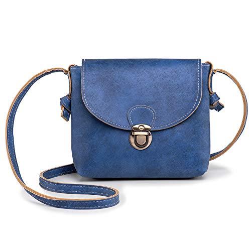 LaRechor Kleine Umhängetasche Damen mit Sicher Schloss Vegan Leder Handtasche Mini Fraue Tasche Licht Vintage - Blau