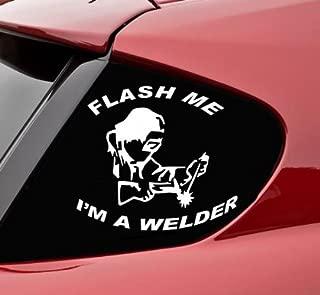 Slap-Art Flash me I'm a welder funny vinyl decal bumper sticker