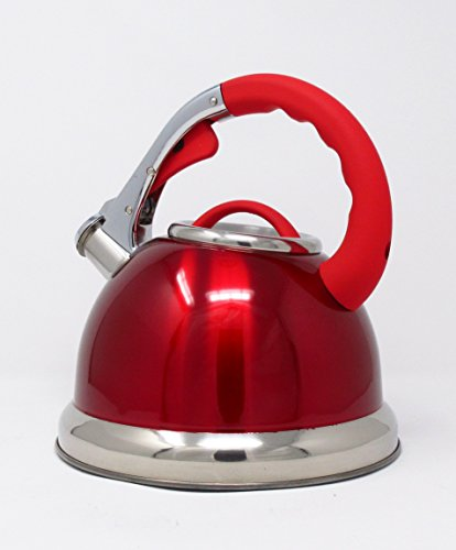 CookSpace (TM) Red Stainless Steel Induction Gas Electric Hob Stove Top Whistling Kettle 3.5 Litre