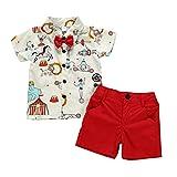 Haokaini Baby Boy Animal Circus Stampato Abiti Top Camicia Shorts Set Casual Vestito per Bambino Neonato