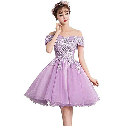 Dydsz Women's Off Shoulder Prom Dresses Short Homecoming Party Dress for Teens Ball Gown Lavender 8