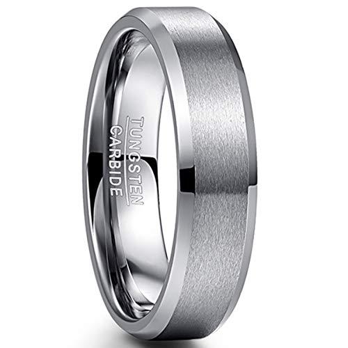 NUNCAD Ring Silber Herren Damen 6mm Wolfram Ring für Partner Größe 54