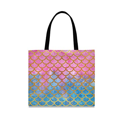 Canvas Tote Bag Fish Mermaid Scales Shopping Cloth Bag Reusable Grocery Bag Shoulder Bags