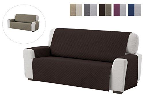 textil-home Salvadivano Trapuntato Copridivano Adele 3 posti Reversibile. Colore Marrone