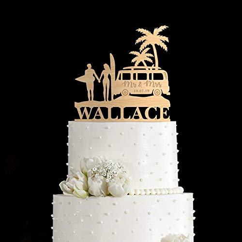 Surfen Bruiloft Cake Topper, VW Bus Surf Bruiloft Taart Topper, Tropische Bruiloft Taart Topper, Oceaan Bruiloft Taart Topper, Hawaii Bruiloft Topper,195