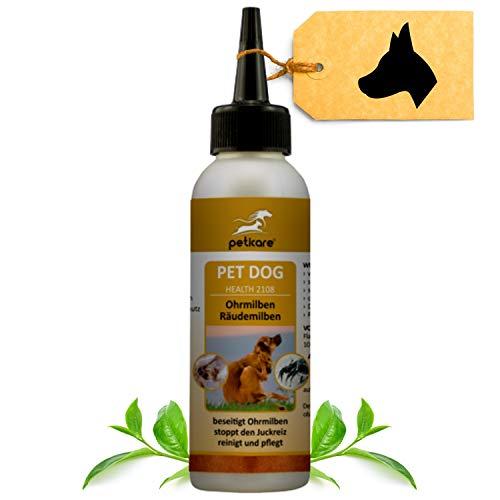 Peticare Ohren-Tropfen bei Ohrmilben für Hunde - Wirksames Pflege-Mittel gegen Milben, Ohrräude, stoppt Juckreiz am Ohr, lindert Entzündungen, 100% natürlich - petDog Health 2108