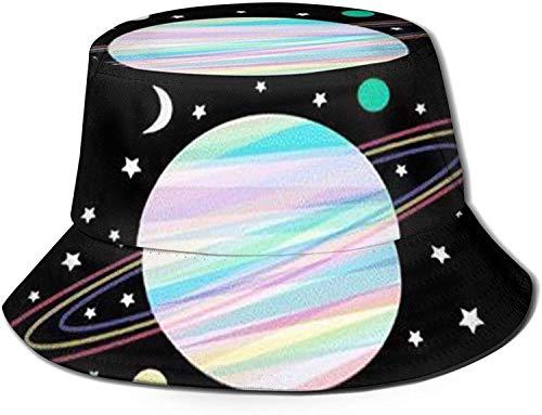 DUTRIX Sombrero de Pescador con Estampado de patrón de Planeta, Gorra de Sol para Pesca, para Viajes de Mujer