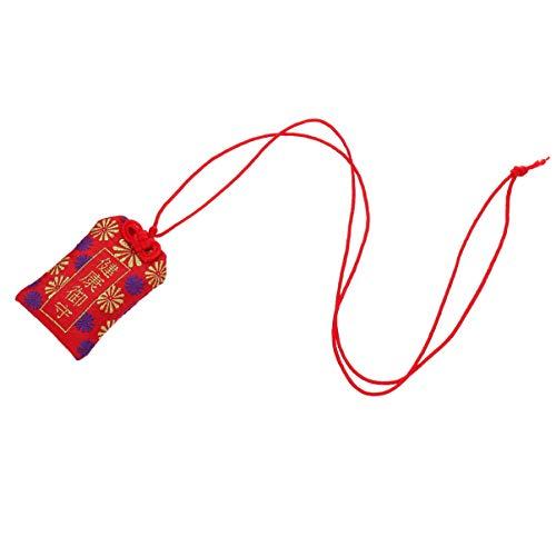 Wakauto 2Pc Omamori encanto japonés, amuleto de la suerte de la buena salud (rojo)