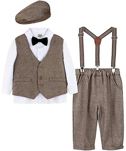 mintgreen Baby Junge Formell Anzug Set Hochzeit Blazer, Braun, 3-4 Jahre (Herstellergröße : 110)