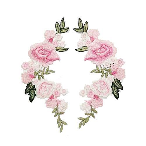 2 Stück/Set Rose Blume Stickerei Aufnäher Sticker für Kleidung Parches Para La Ropa Applikation Blume Patches rose
