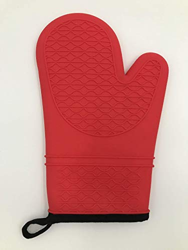 Berger Import - Guanti da forno, in silicone, 1 pezzo, extra lunghi, resistenti al calore, con morbida fodera interna, colore: Rosso