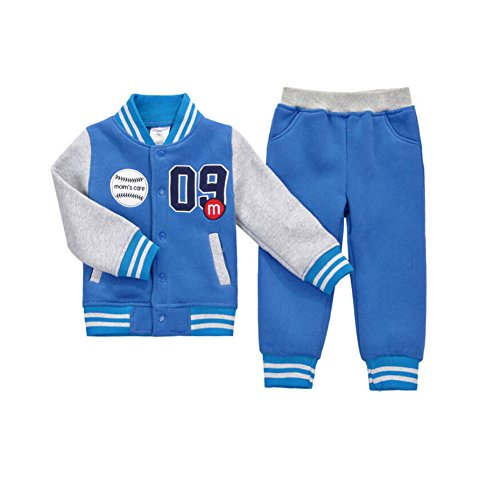 CuteOn Boys Girls Baseball Tracksuit Jacket + Trouser Sports Suit Outfits Set Blue 4-5 Years