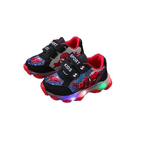 Zapatos para niños Spiderman, Zapatos para niños con luz LED, Cierre de Velcro fácil Zapatillas Luminosas Zapatillas Niños Niñas Bebés Mejor Regalo Cumpleaños Halloween Navidad (Size : 21 EU)