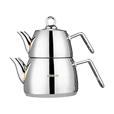 Amboss Turkish Teapot Set with Steam Lid 4 PCS Stainless Steel Thick Handles Induction Cooker Compatible Turkish Tea Set (Steel)
