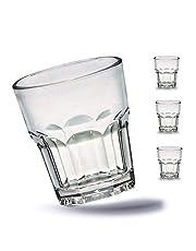 Kerafactum 4 st. brottsäkra glas bägare hållbara vattenglas av stabil plast saft whiskyglas partymugg whiskymugg dryckesmugg i äkta glasoptik – stapelbar