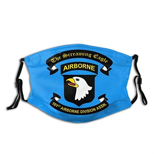 101st Airborne Division Association Pm2.5 Face Bandanas Dust Scarf,M-Shaped Nose Clip,Equipped With Two Replaceable Activated Carbon Filters Adjustable For Men And Women.