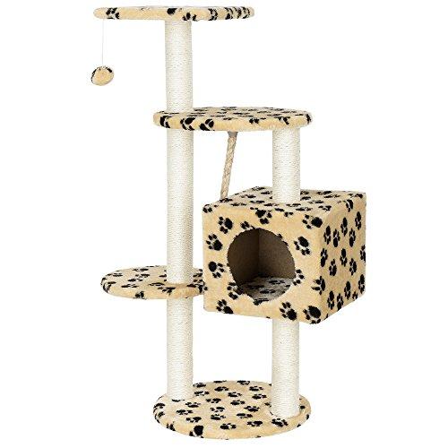 [en.casa] Rascador para Gatos (40 x 40 x 113 cm Aprox)(Crema con Huellas) árbol para trepar y arañar - sisal - con Juegos y Cueva