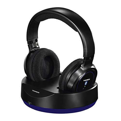 Thomson Kabelloser Over-Ear Bluetooth Kopfhörer (mit Ladestation für HIFI/Smartphone/Tablet/PC, Telefonie- und Remotefunktionen, VOIP, 12h Betriebszeit Wireless Headphones) schwarz