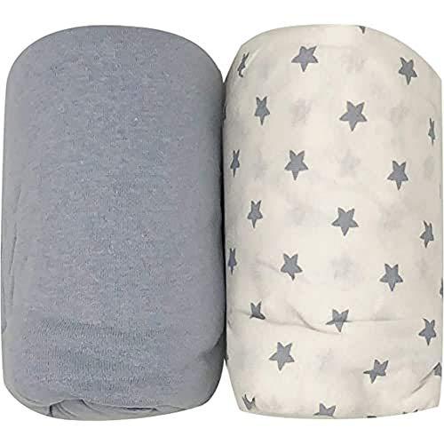 Lot de 2 draps housse bleus Glacier + étoiles Babycalin - 70 x 140 cm