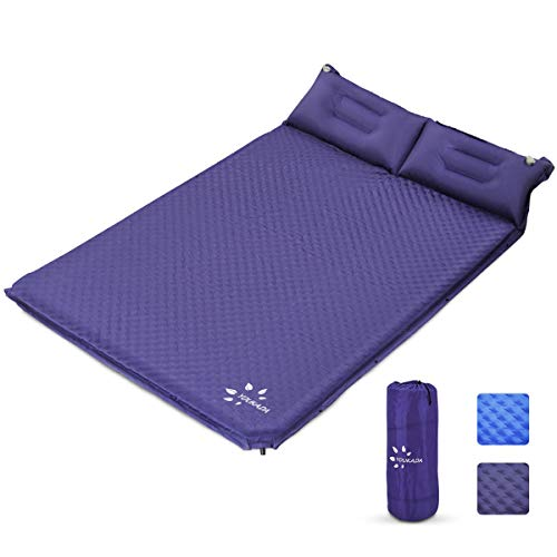 YOUKADA Sleeping-Pad Foam Self-Inflating Camping-Mat for Backpacking Sleeping Pad Double Sleeping Mat Camping Pad 2 Person Camping Mattress with Pillow for Hiking Camping Gear (Navy, Large)