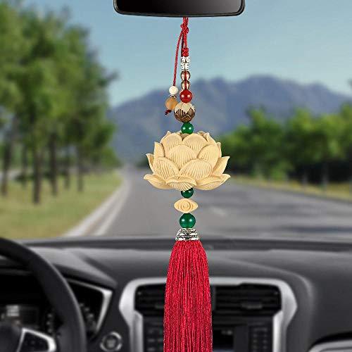 Coche retrovisor espejo colgante Pendiente de madera de coches nuevos talla escultura Lotus espejo...