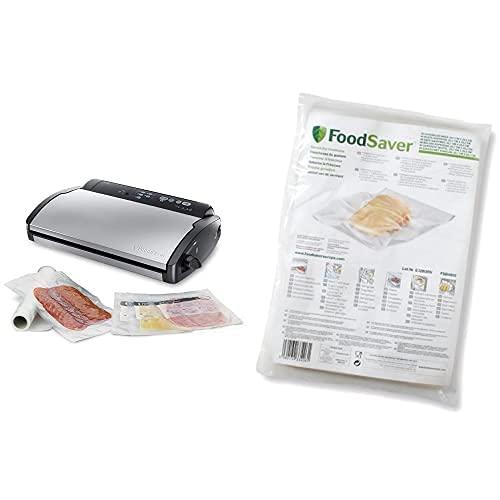FoodSaver V2860 - Envasadora Al Vacío, 2 Tipos De Envasado, 3 Velocidades, Color Negro Y Plata, 43 X 29 X 10.5 Cm + Fsb4802-I-065 - Bolsas Envasado Al Vacío, 20.7 X 29.2 Cm