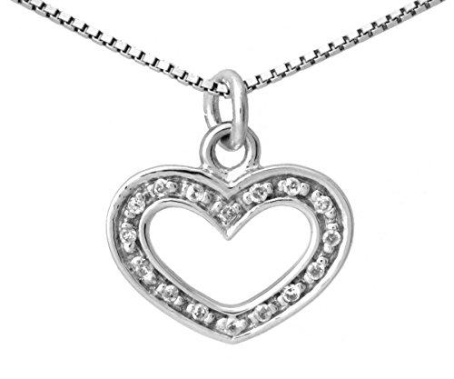 Venta Final de línea oro blanco 9ct colgante de corazón diamantes 0,10ct en 9ct oro caja cadena