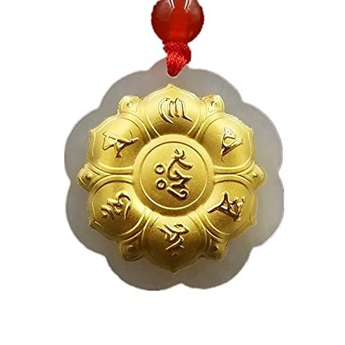 YUNHE Colgante de Jade Hetian, Collar de Rumor de Seis Palabras de Jade Dorado, Amuleto de la Suerte, joyería de Mantra Budista para Hombres y Mujeres, Regalo
