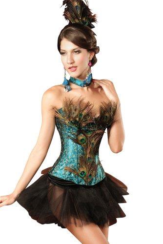 less is more Traumhaftes 4-teiliges Korsagen-Kostüm Peacock mit Federn Pfau Burlesque, Größe:S/M