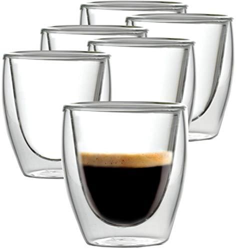 Caffé Italia Torino 6 x 60 ml Doppelwand-Thermo-Gläser - für Espresso Tee Heiß- und Kaltgetränke - spülmaschinengeeignet