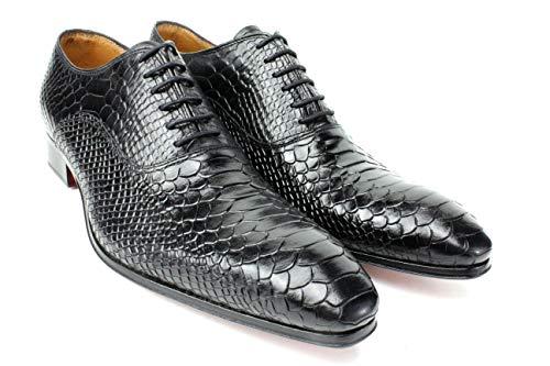 Ivan Troy Black Classic Crocodile Embossed Handmade Men Italian Leather Dress Shoes/Oxford Shoes (EU 46 - US 13)