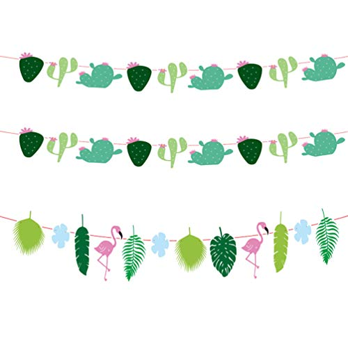 PRETYZOOM Hawaii Party Decor Flamingo Tropical Leaves Garland Banner Rainforest Theme Party Supplies 3pcs