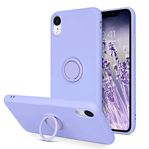 """iPhone XR Cases, iPhone XR Case DOMAVER Slim Liquid Silicone Soft Gel Rubber Microfiber Lining Cushion Protective Cover with 360° Ring Holder Kickstand (Support Car Mount) for iPhone XR 6.1"""", Purple"""