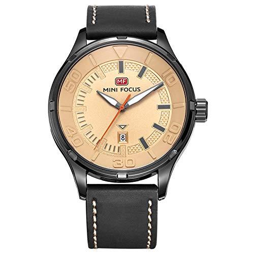 Reloj para Hombre Reloj mecánico automático Calendario analógico Reloj de Pulsera mecánico de Cuero marrón-C