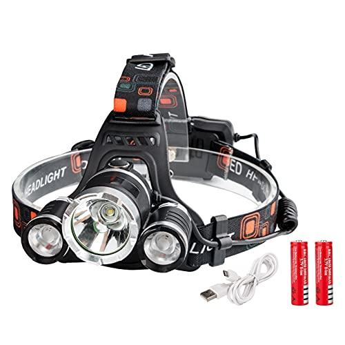 Linterna Frontal USB Faro de la antorcha de carga T6 + R2 LED Faro 4 Modos de trabajo de trabajo alimentado por 18650 Lámpara de emergencia al aire libre de la luz del casco