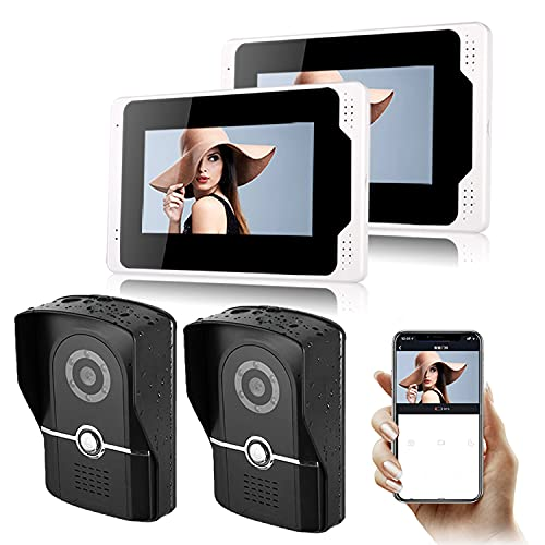 Videoporteros De Monitor, WiFi Vídeo Timbre del Teléfono, Pantalla De 7' Cámara Inteligente con Visión Nocturna De Botón Impermeable Llamada De Intercomunicación De Vigilancia De Desbloqueo,B