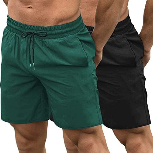 JINIDU Pack de 2 pantalones cortos de gimnasio para hombre, de secado rápido, para culturismo, entrenamiento, correr, correr, deportes, pantalones cortos con bolsillos, negro y verde oscuro, L