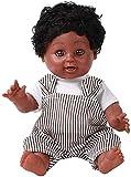 Reborn Baby Doll Muñecas realistas para bebés Muñecas nutritivas de 13 pulgadas (35Cm) Muñeca de renacimiento de silicona de vinilo suave Mini bebé Reborn African Baby Doll Black GirlBebé de juguete