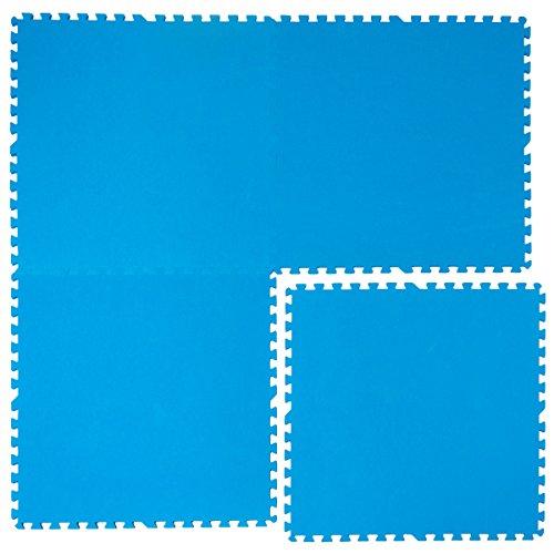 EYEPOWER 1cm Dicke Poolmatte 4er Set Bodenmatte 2,6qm Bodenfliesen Bodenfolie Unterlage für Pool Robustes erweiterbares Stecksystem Blau