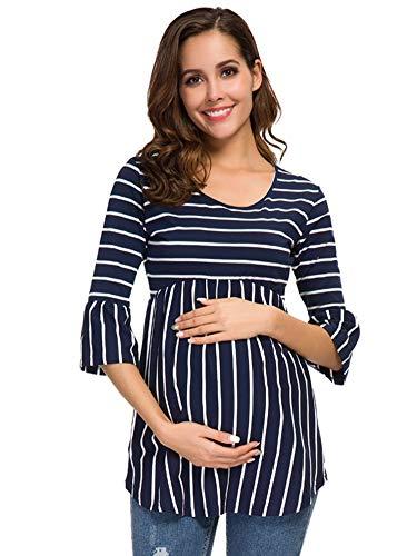 Love2Mi Damen Umstands-Tunika, Top, kurze Ärmel/Glockenärmel, T-Shirt, lässige Schwangerschaftskleidung - - X-Groß