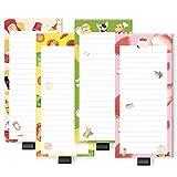 4 paquetes de bloc de notas magnético de 50 hojas con soporte elástico para bolígrafos de 7,9 x 18 cm, bloc de escritura, recordatorio, compras de comestibles..