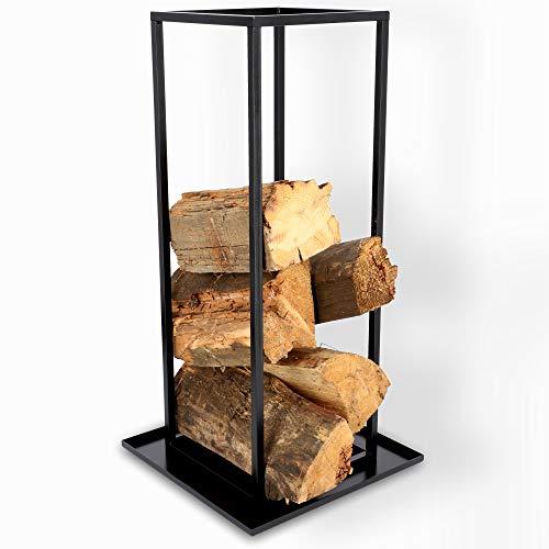 KADAX Kaminholzregal aus Stahl, rechteckiger Kaminholzständer, Holzscheite Stapelhilfe, ergonomisches Brennholzregal, Praktisches Holzlager mit verstärktem Boden, Feuerholz