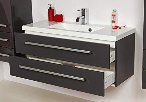 Quentis Badmöbel Genua, Breite 100 cm, anthrazit, Waschbecken mit Unterschrank, 2 Schubladen, Softeinzug, Waschbeckenunterschrank montiert