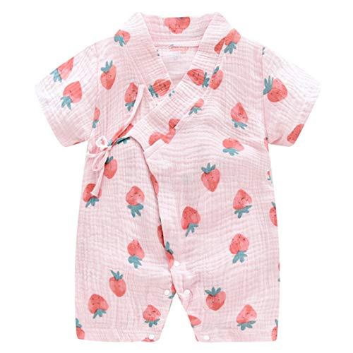 PAUBOLI Baby Kimono Robe Newborn Cotton Yarn Bodysuit Romper Infant Japanese Pajamas 0-24 Months (0-3 Months, Strawberry)