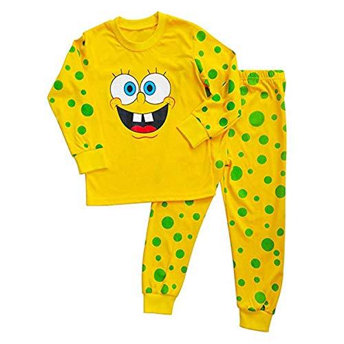NING Boys Pajamas 2 Piece Little Boys Pajamas Sets 100% Cotton Clothes Toddler Kids Sleepwear 2-7T (Spongebob, 3T)