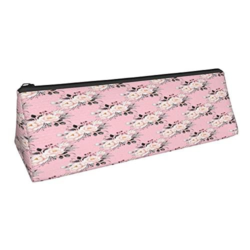 Vintage Ramos de flores triángulo lápiz lápiz bolsa durable papelería caso forboy cosmético bolsa