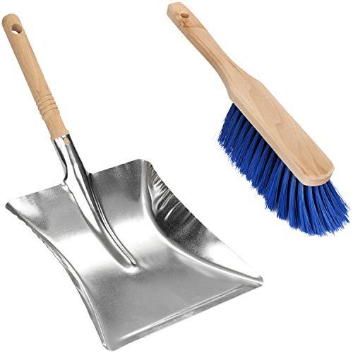 com-four® Juego de Cepillo para Barrer y Recogedor de Mano - Escobilla y Recogedor de Metal con Mango de Madera (01 Pieza - Juego de barredoras)