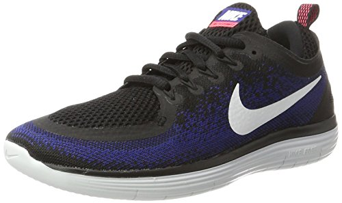 Nike Herren Free RN Distance 2 Laufschuhe, Mehrfarbig (Black/White/deep Royal Blue/hot Punch), 41 EU