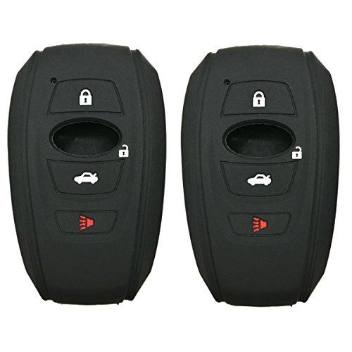 2Pcs Coolbestda Rubber Smart Key Fob Skin Jacket Protector Case Cover Holder for 2016 2017 Subaru Forester Sti 2017 Outback 2015 2016 XV Crosstrek Impreza 2014-2017 BRZ 2016 WRX Black